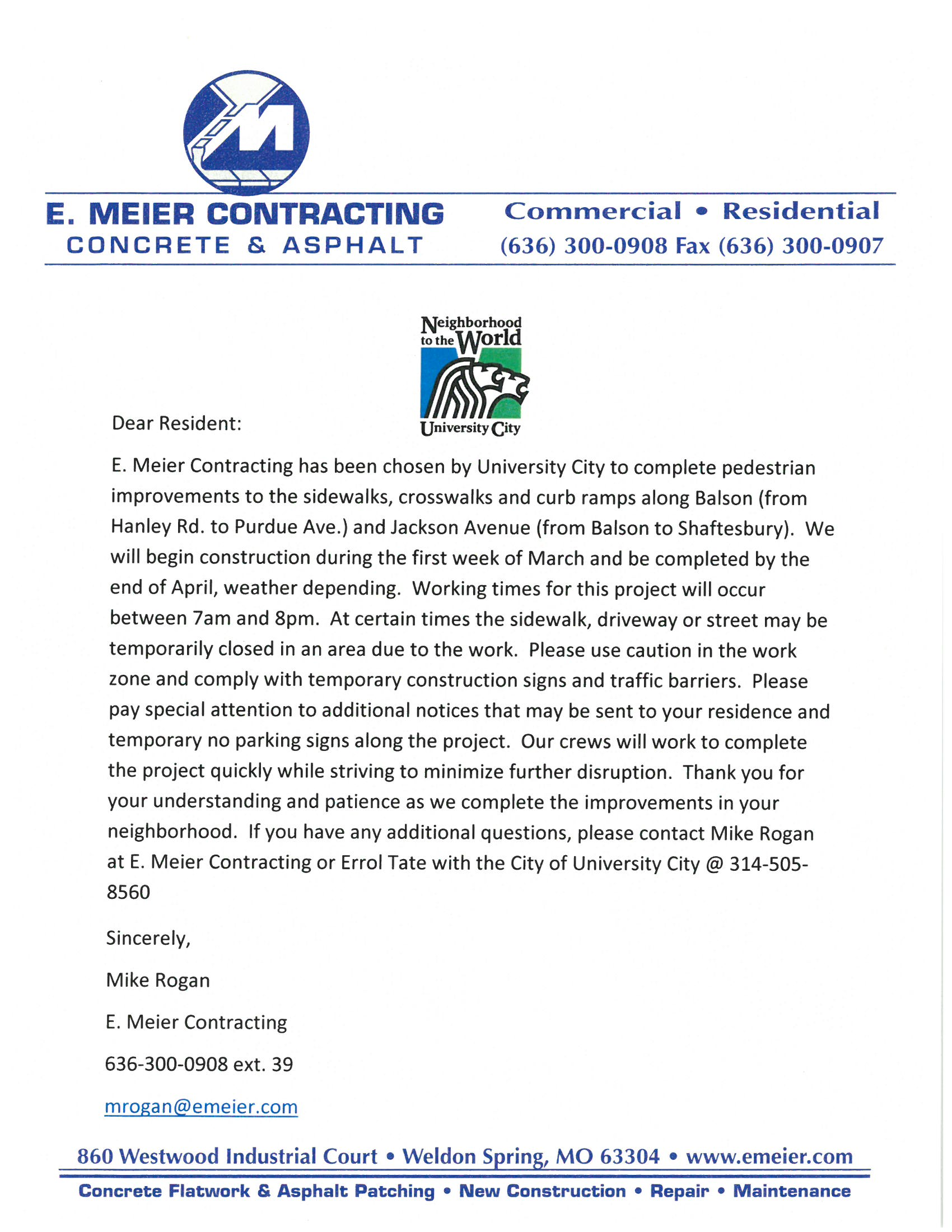 U-City E. Meier construction notice