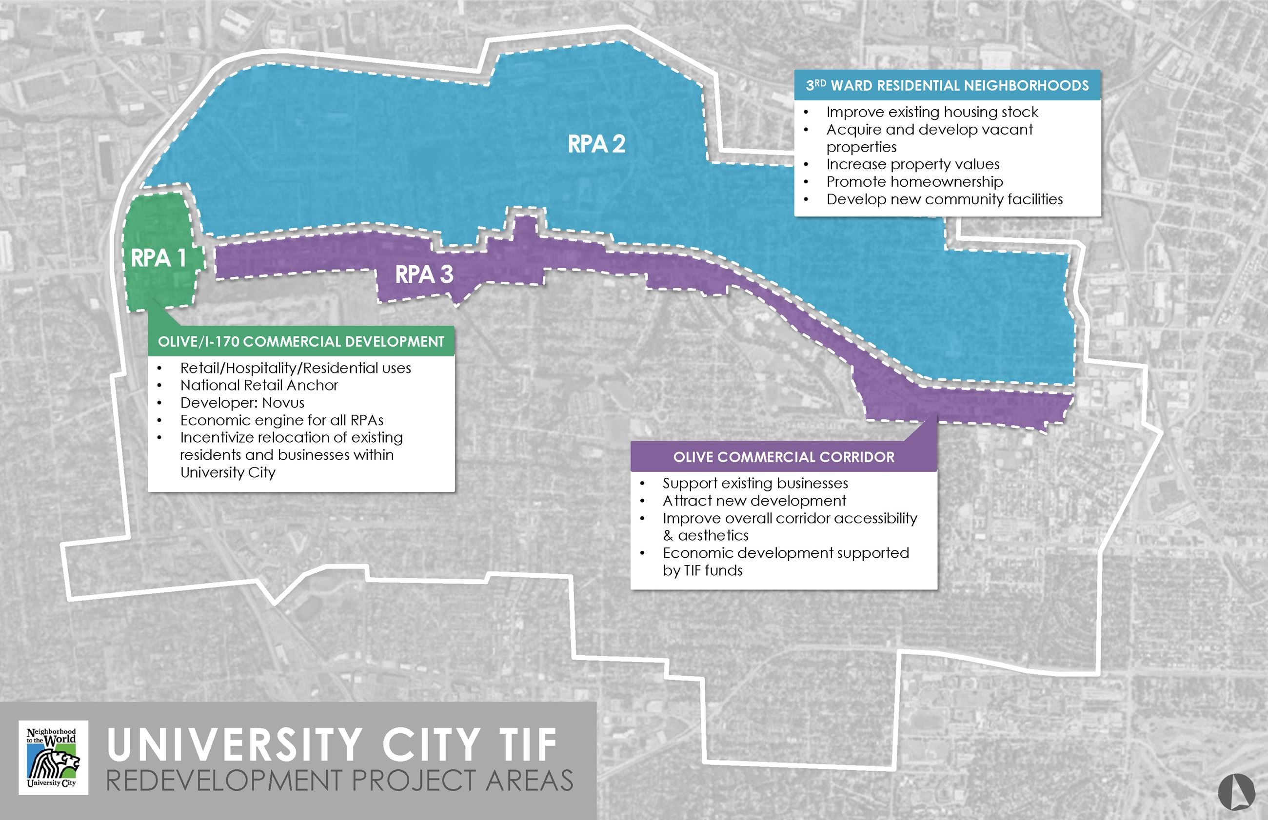 TIF Redevelopment Project Areas Map
