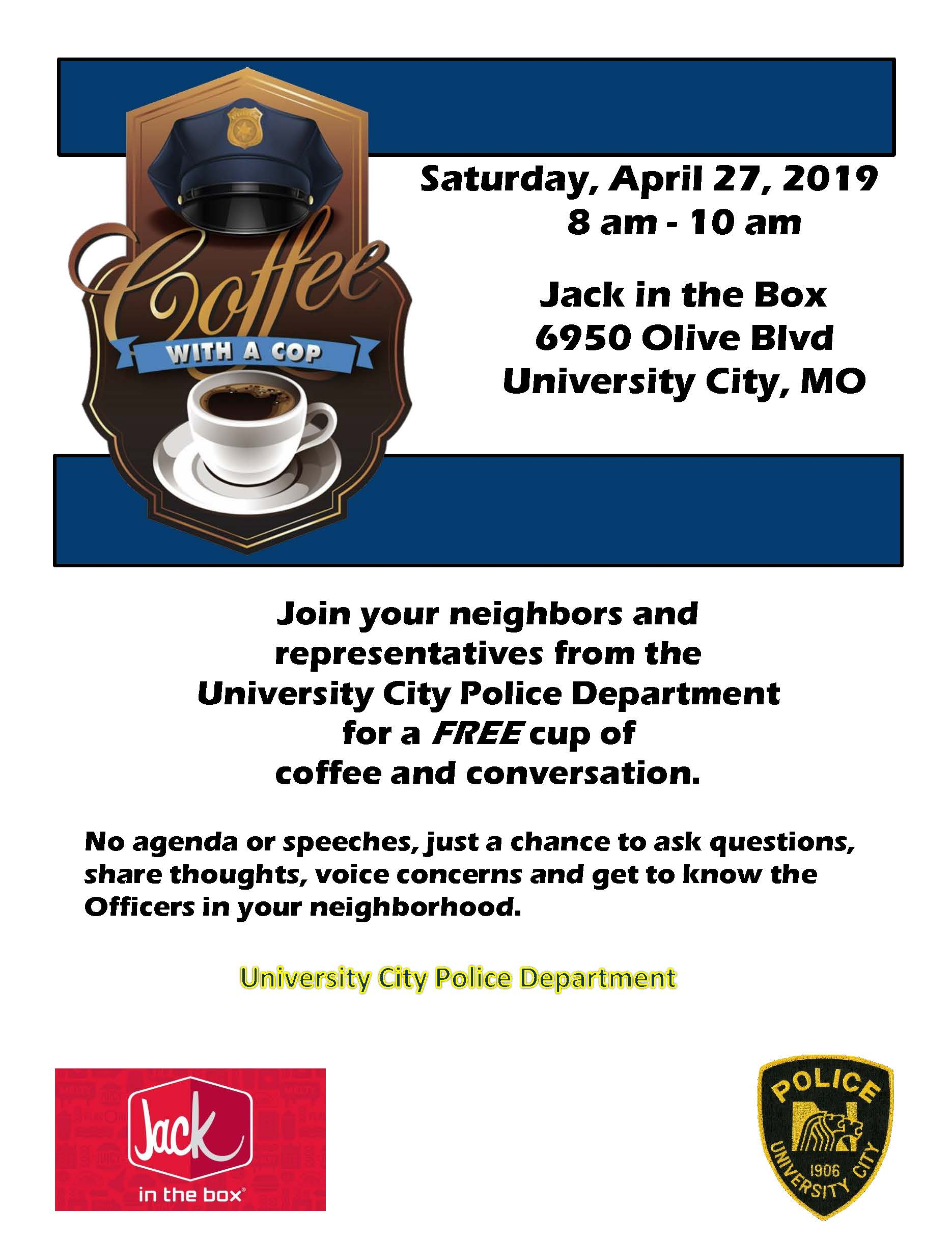 Coffee with a Cop - Jack in the Box April 2019